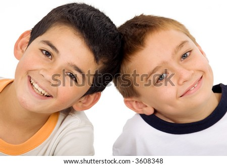 young kids portrait isolated over a white background - stock photo