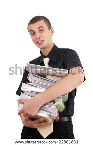 young lad with file on white background - stock photo