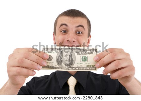 young lad with money on white background - stock photo