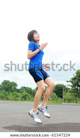 young lady athlete in training - stock photo