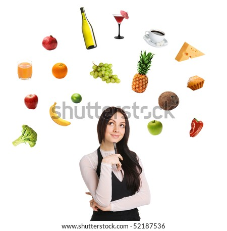 Young lady choosing from a variety of products, white background