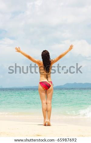 Young lady enjoying seascape - stock photo