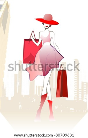 Young lady enjoys her shopping. In backgrounds are skyscrapers. - stock photo