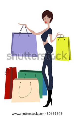 Young lady enjoys her shopping. This file have additional CDR and EPS 8 vector format - stock photo