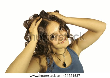 Young lady gone crazy pulling Hair and smiling