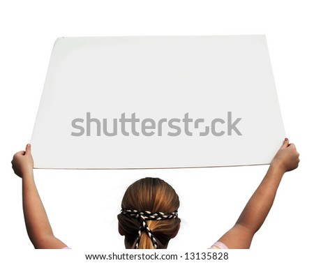Young lady holding a white blank sign - isolated. - stock photo