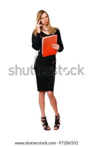 Young lady in black with the folder - stock photo