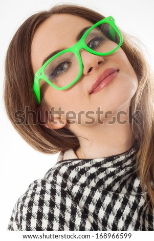 Young lady in glasses on white background