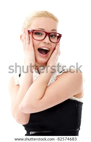 Young lady in glasses on white background - stock photo