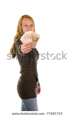 Young lady is offering money - stock photo