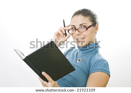 young lady learns for exam - stock photo