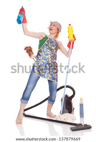 young lady like a fighter is ready for spring cleaning, isolated on white background - stock photo