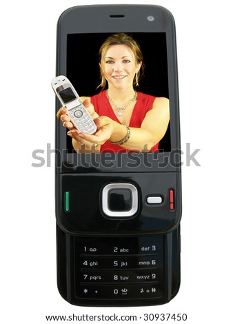 Young lady offering you a mobile telephone