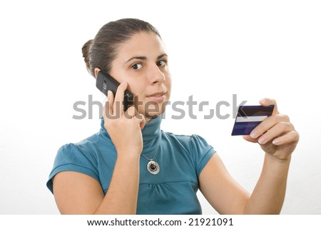 young lady reading card info for electronic payment