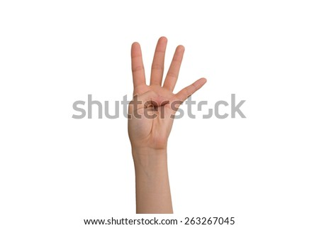 Young Lady's Left Four Fingers - stock photo