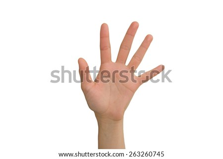 Young Lady's Left Open Hand  - stock photo