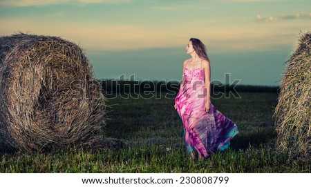 Young lady standing in evening field. Beautiful woman posing at the old rural farm location. Outdoor summer portrait of pretty fashion style woman in colored dress over haystack. Beautiful slim girl. - stock photo