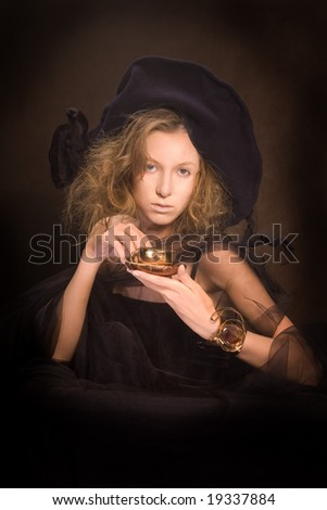 Young lady with a gold coffee cup (3)