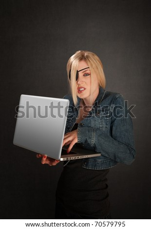 Young Lady With Eye Patch As A Software Pirate
