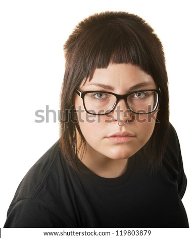 Young lady with nose ring staring ahead