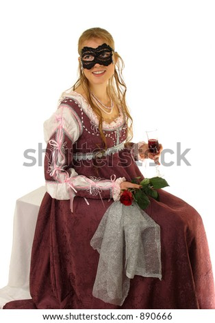 Young lady with red rose in the italian Renaissance dress. So cold Juliet Dress of the 15th century. Isolated image