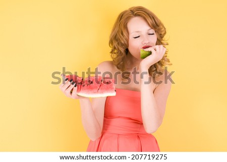 young lady with watermelon