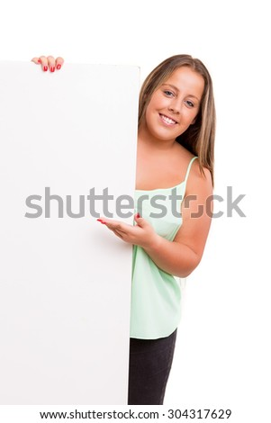 Young large beautiful woman presenting your product, isolated over white background