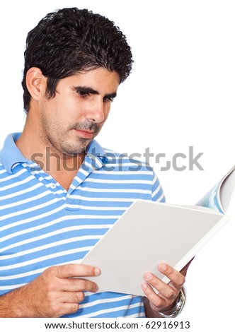 Young latin man reading a book isolated on a white background - stock photo