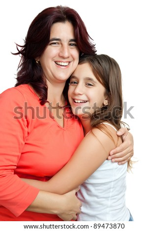 Young latin mother hugging her daughter  isolated on a white background