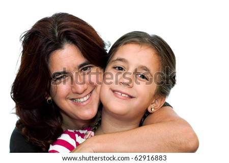 Young latin mother smiling and hugging her small daughter isolated on a white background - stock photo