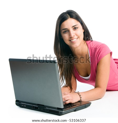 Young latin smiling woman working on laptop isolated on white background - stock photo