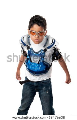 Young latino boy ready for a motorcross race