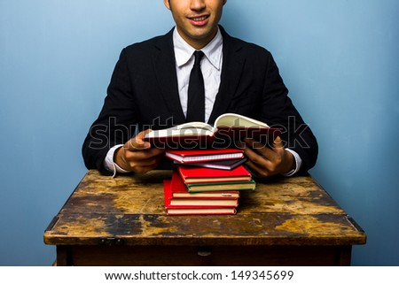 Young law student reading books