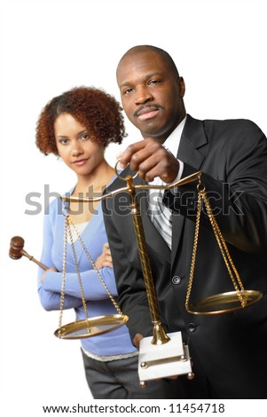 Young lawyers or law students standing together; isolated on white - stock photo