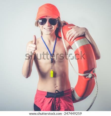 young lifeguard - stock photo