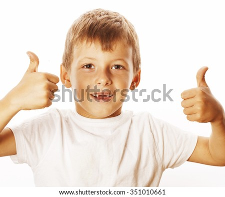 young little boy isolated on white thumbs up on white gesturing both hands - stock photo