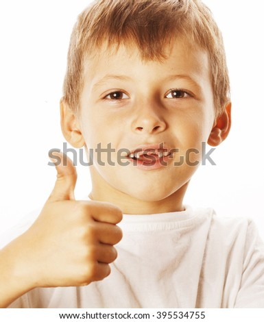 young little boy isolated thumbs up on white gesturing - stock photo