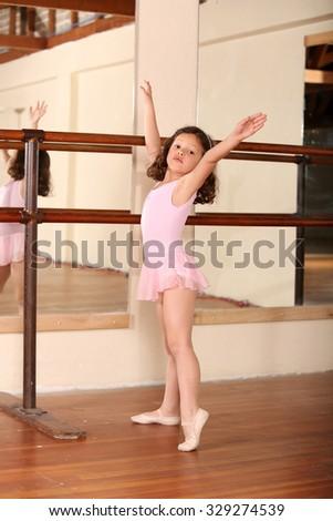Young little girl ballet dancing - stock photo