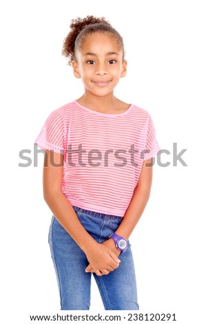 young little girl isolated in white background - stock photo