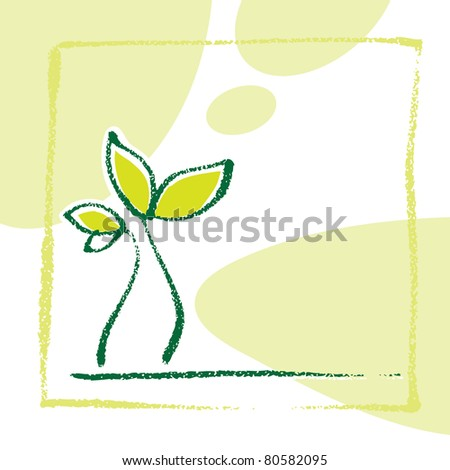 Young little plant seedling, artistic painterly simplified chalk-like illustration (raster version) - stock photo