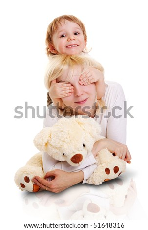 Young little son and his pretty young mother. - stock photo