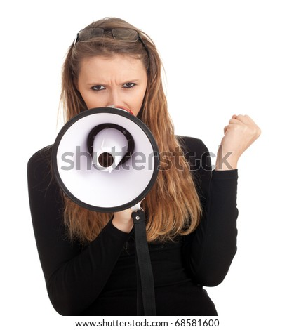 young long hair woman speaking by megaphone