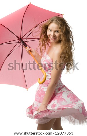 young long-haired girl in beautiful summer dress with pink umbrella in hands isolated on white - stock photo