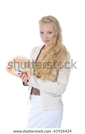 Young long-haired woman with a bundle of Euro banknotes. Isolated on white
