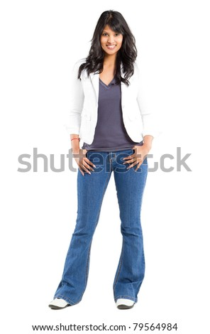 young lovely indian woman full length portrait on white - stock photo
