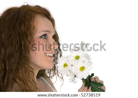Young lovely woman with bunch of white flowers. Isolated on white. - stock photo
