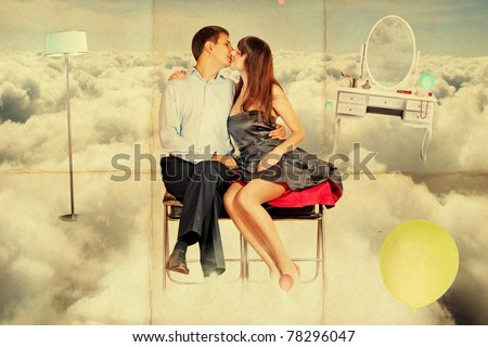 young lovers in the sky, vintage paper pattern - stock photo