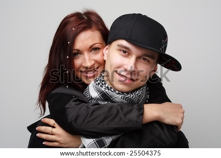 young loving couple close up - stock photo