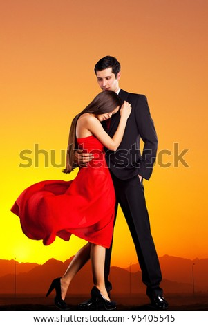 young loving couple hugging - stock photo