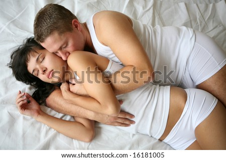 Young loving couple in a sensual mood - stock photo